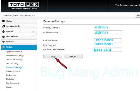 Cara Mengganti UserName dan Password Login Bawaan Totolink N200re
