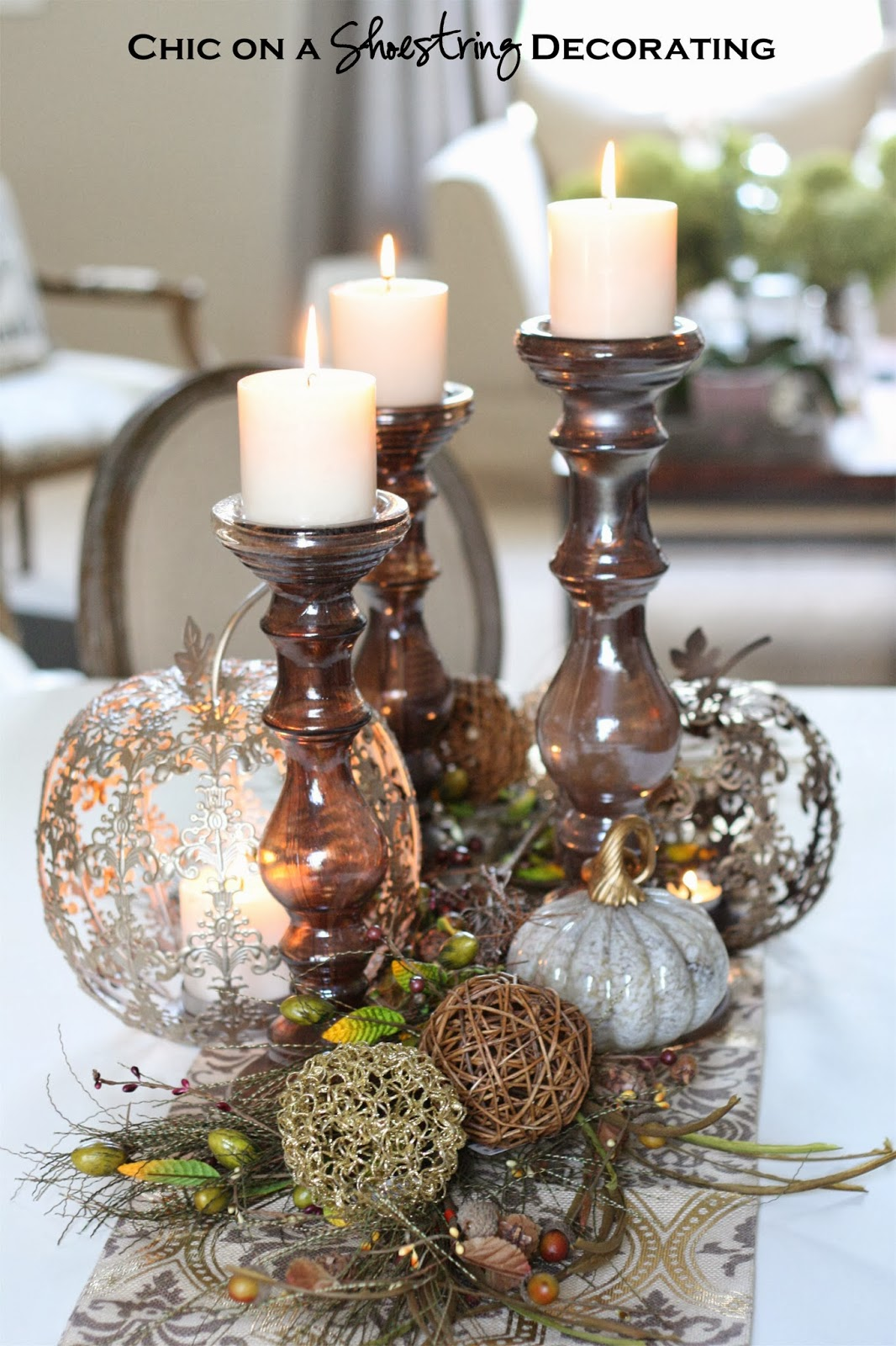 Chic on a shoestring decorating fall centerpiece and pier - Decorating a beach house on a shoestring ...