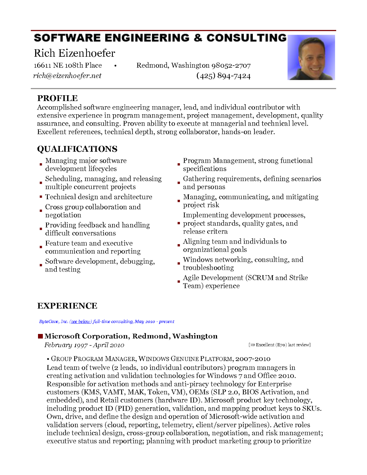 sample resume for experienced software test engineer - Resume Software Free