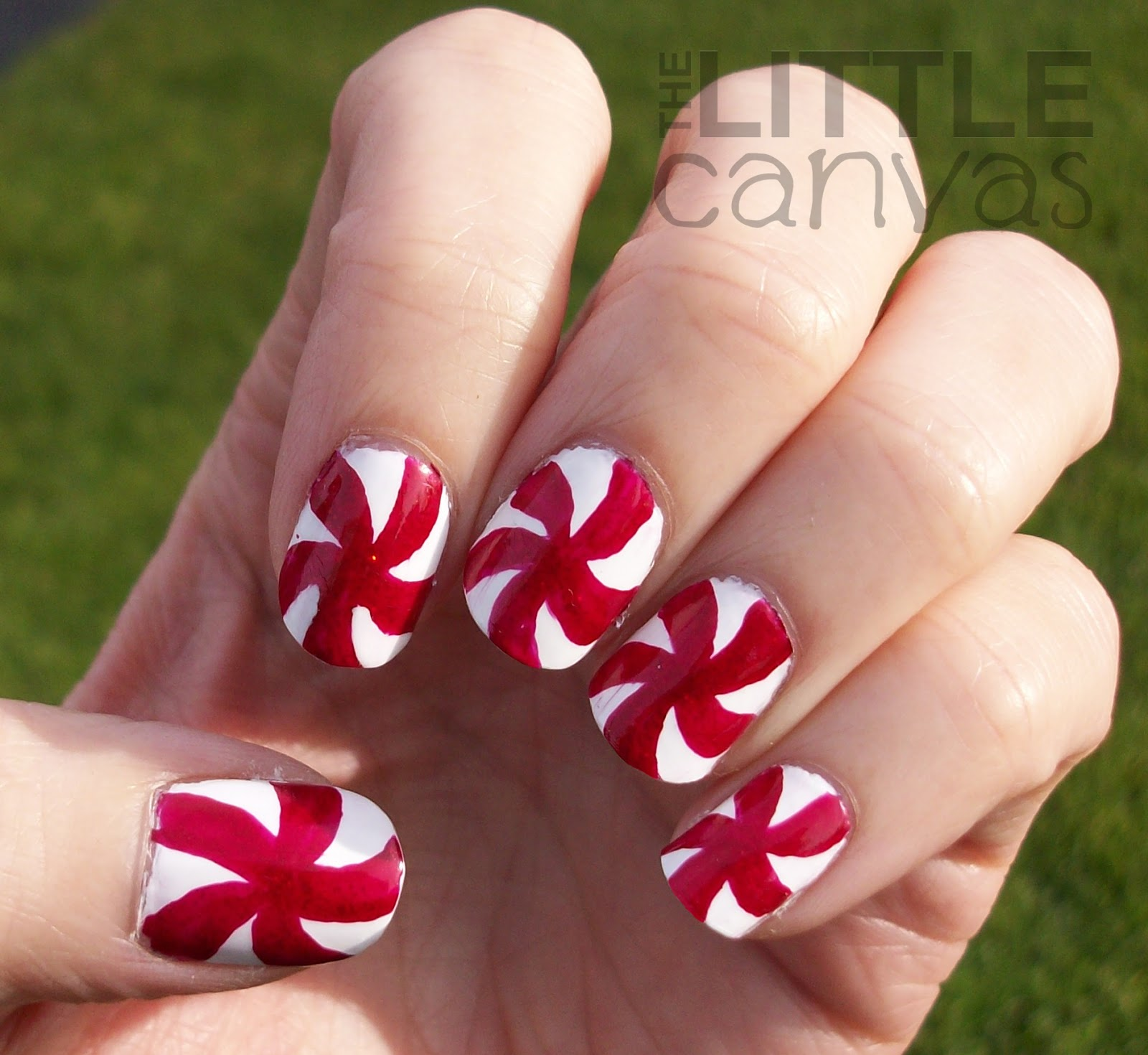 Peppermint Candy Nail Art The Little Canvas