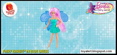 McDonalds Barbie A Fairy Secret happy meal toy 2011 Fairy Barbie in blue Dress