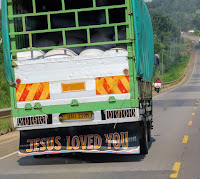 Jesus Loved You truck in Uganda