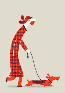 dachshund and owner man illustration by Steven Lenton
