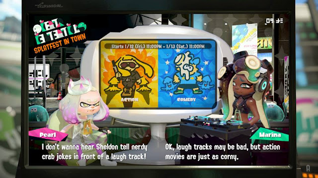 Splatoon 2 Splatfest Action vs Comedy Sheldon tell nerdy crab jokes in front of a laugh track Pearl The Big Bang Theory