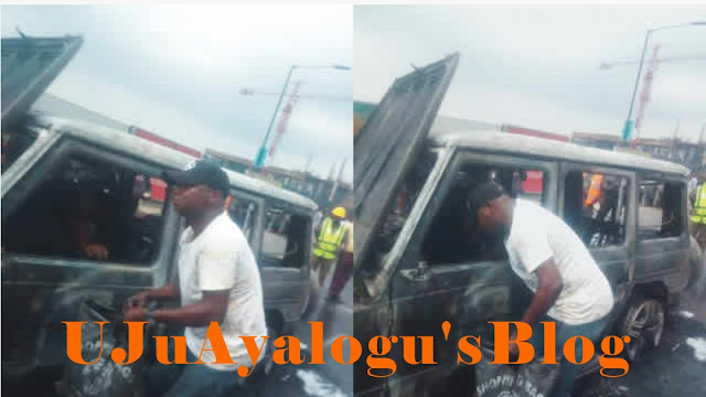 Fire razes Fayose's G-Class in Lagos • We saw driver packing burnt cash from vehicle –Traffic officer