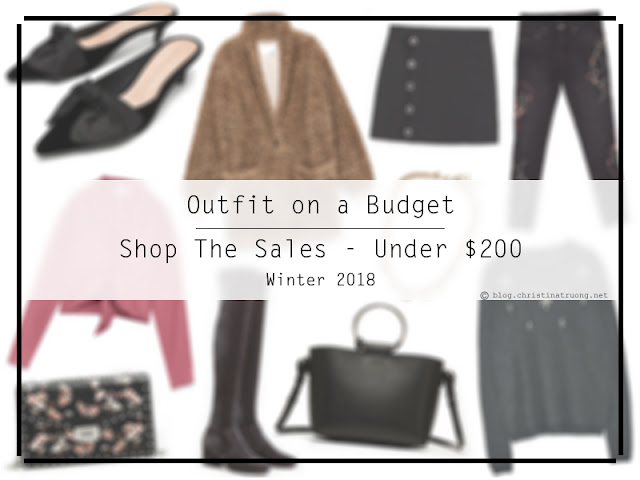 Outfit on a Budget: Shop the Sale - Winter 2018 featuring complete outfits for under $200 from Aritzia, Banana Republic, Mango, and Zara.