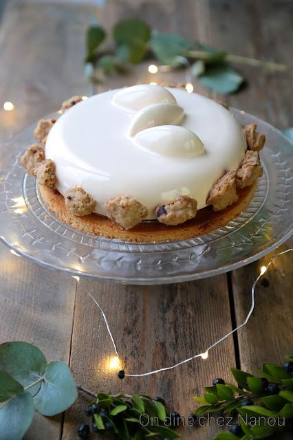gâteau de Noel , de fêtes , mandarine , praliné croustillant