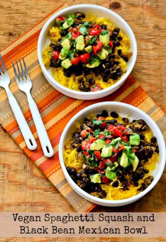 Vegan Spaghetti Squash Black Bean Mexican Bowl  found on KalynsKitchen.com