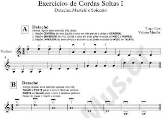 Exercícios de Cordas Soltas - Detaché - Martelé - Spiccato