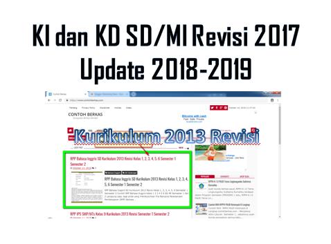 KI Dan KD Kurikulum 2013 SD/MI Revisi Tahun Pelajaran 2018/2019