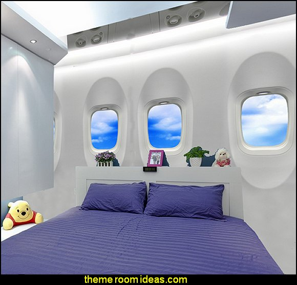 sky wallpaper 3D wallpaper  airplane theme bedroom - Aviation themed bedroom ideas - airplane bed - airplane murals - airplane room decor - Airplane rooms - airplane theme beds - airplane decor