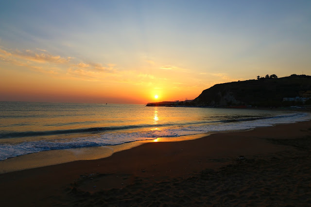 wschód słońca, morze, krajobraz, Grecja