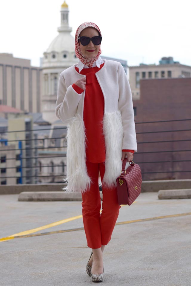 Valentine's Day Outfit Inspiration-Red Pants-White Faux Fur Coat
