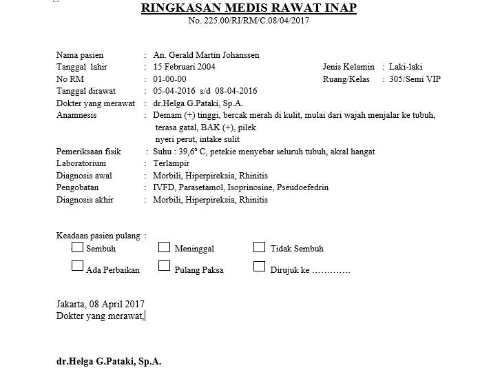 My Real Experiences Contoh Resume Medis Rawat Inap Anak Penyakit