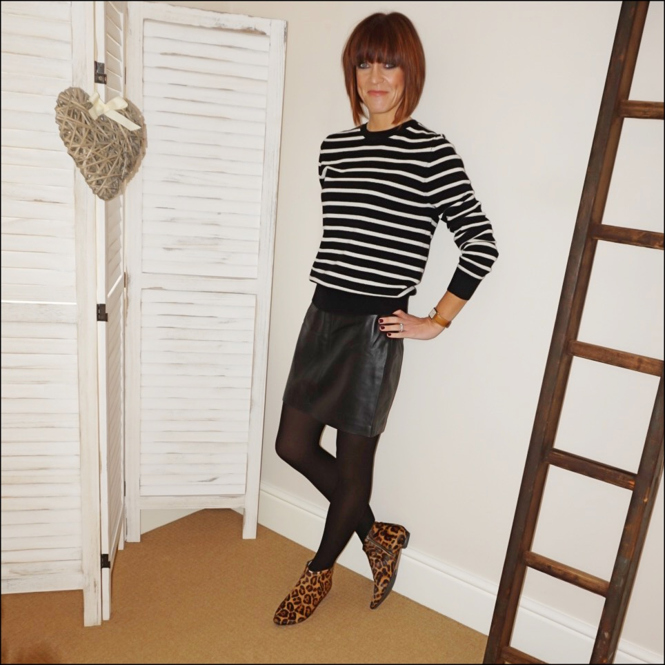 my midlife fashion, marks and spencer pure cashmere stripe round neck jumper, baukjen a line leather skirt, boden johnnie leopard print ankle boots