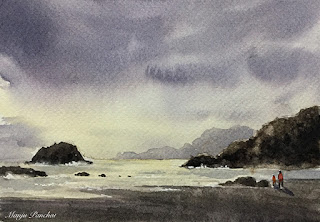 A water colorA water color painting of a dramatic sky at the beach on Fabriano paper, By Indian artist Manju Panchal