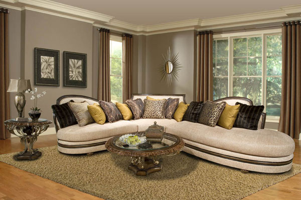Upholstered in Bone White with Toss Cushions