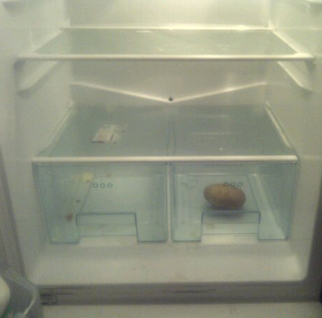 A potato in a fridge