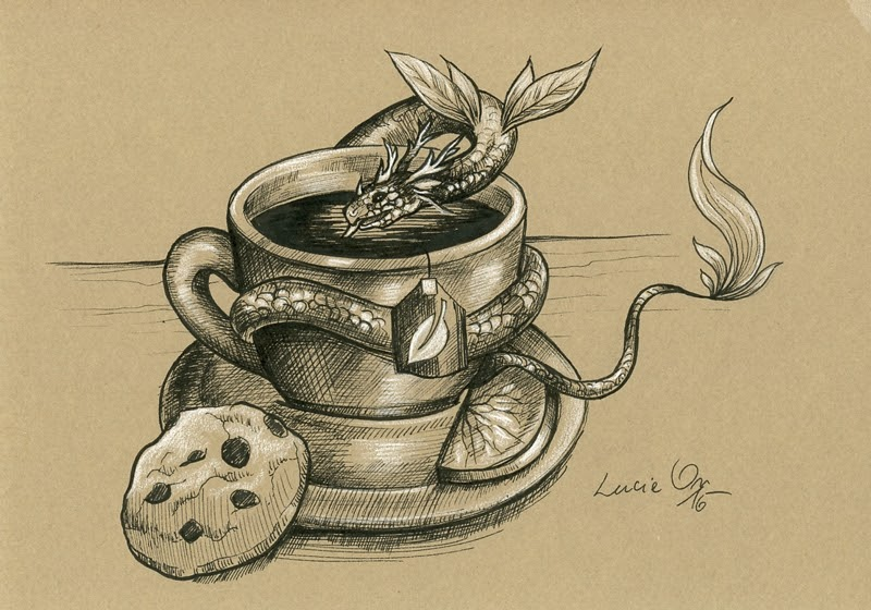 06-Tea-Dragon-Lucie-Ondruskova-LucieOn-A-Glimpse-of-Fairyland-Animals-in-Drawings-www-designstack-co