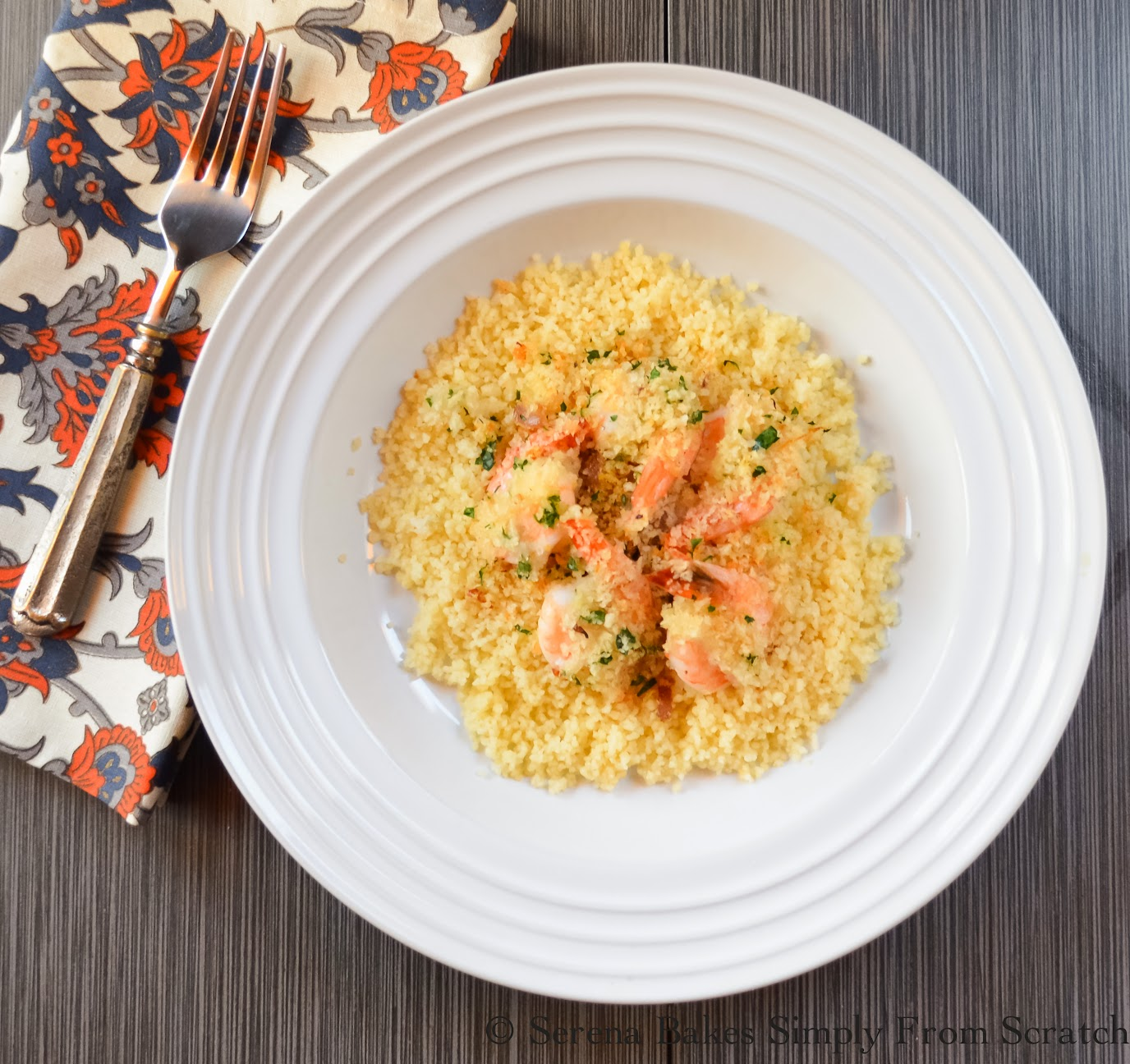 Quick Herbed Panko Baked Shrimp with Couscous under 500 calories per serving and done in under 30 minutes | Serena Bakes Simply From Scratch