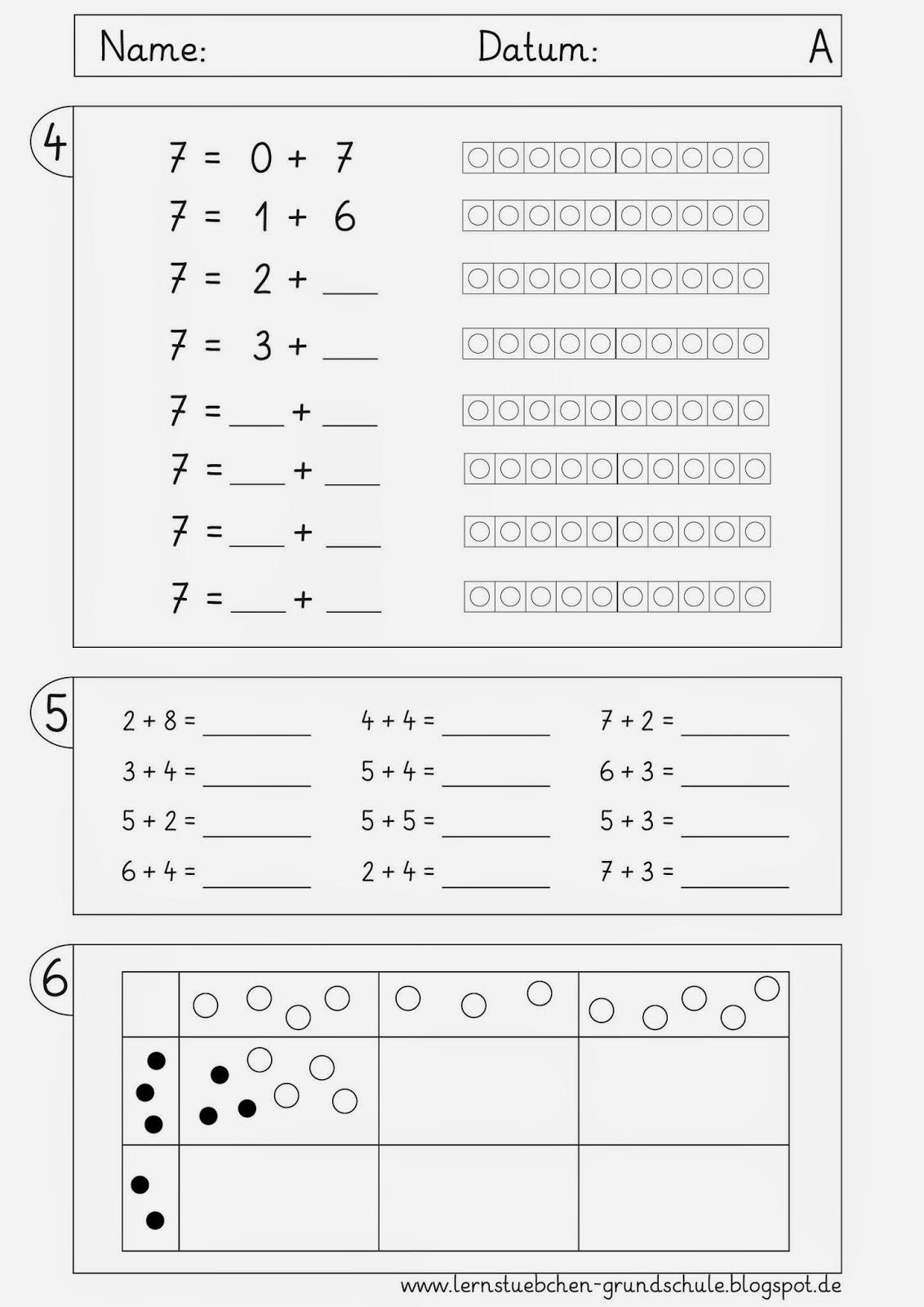 Lernstübchen: ausgewählte Lernziele - Mathe bis Weihnachten