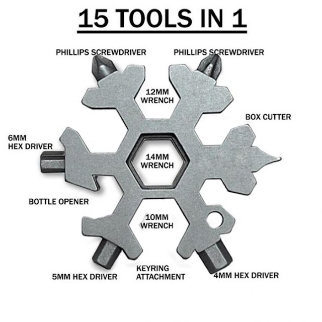 $5.99 / €5.14 Shipped for Pre-Order 15 in 1 Stainless Steel Snowflake Multi-tool Outdoor Keychain Screwdriver Bottle Opener