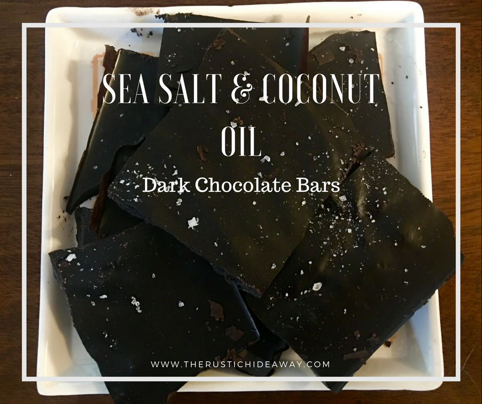 Image of sea salt and coconut oil dark chocolate bars on white plate