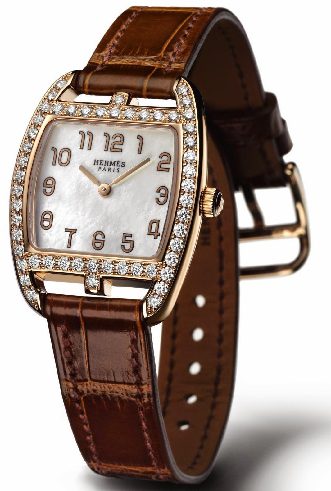 Hermès Cape Cod Tonneau Gem-Set Rose Gold watch with Natural white mother-of-pearl dial