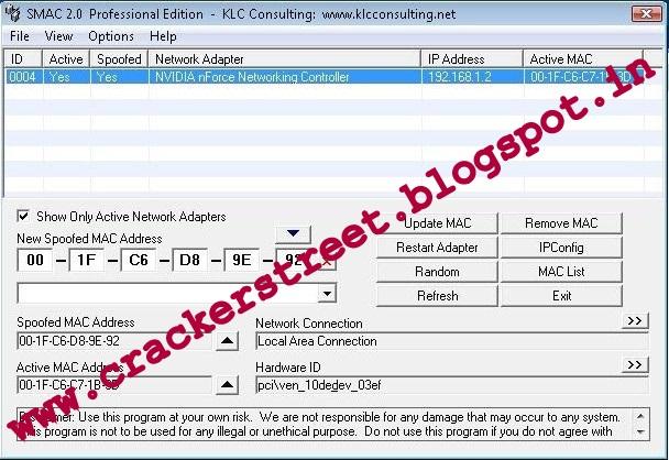 change mac address serial code