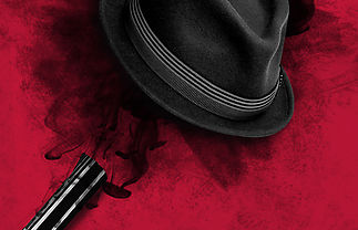 A pink background with a hat that has a bullet hole going through it, plus the barrel of a gun.