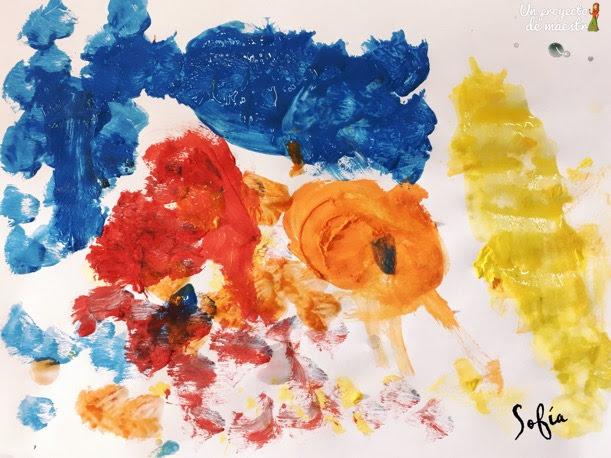Representación de infantil sobre la obra Estrella, Luna y Espirales de Alexander Calder