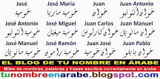 Nombre en letras Arabes: Juan Carlos Antonio Pablo