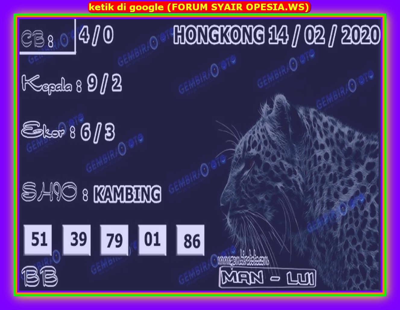Kode syair Hongkong Jumat 14 Februari 2020 123