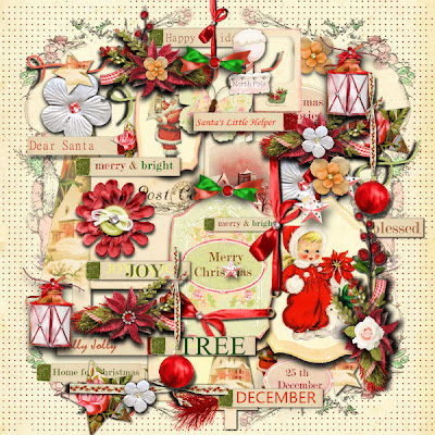 Vintage scrapbooking Christmas kit