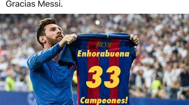 Leo Messi felicita al Real Madrid por la Liga número 33
