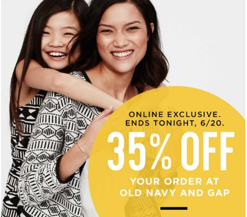 Old Navy & Gap First Day of Summer 35% off Promo Code