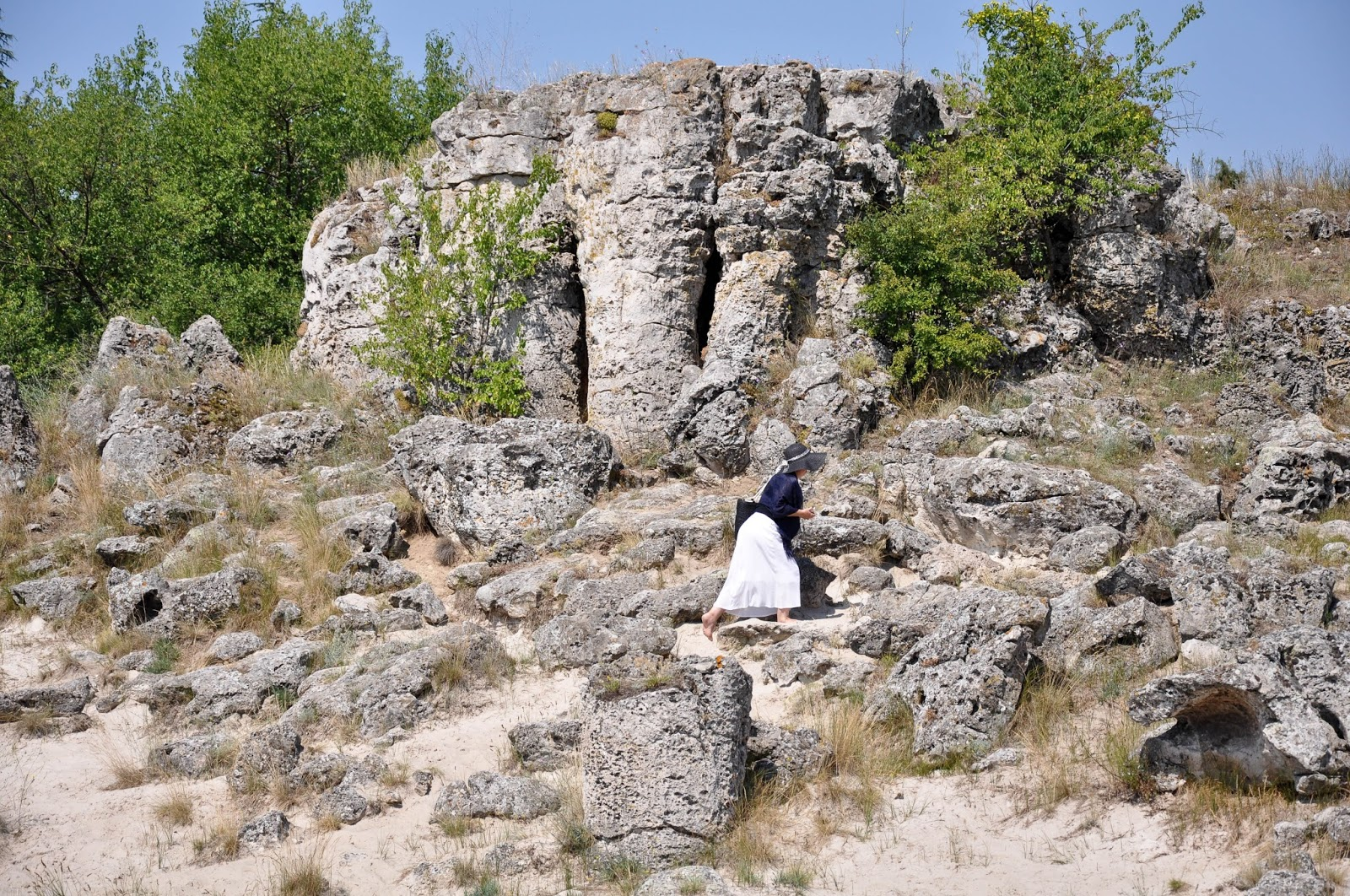 A tourist in The Stone Forest, Varna, Bulgaria