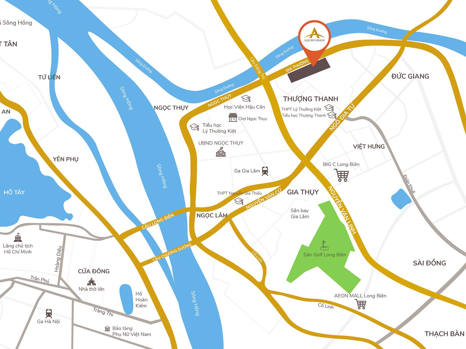 Vị trí rất đẹp của AQH Riverside Long Biên.