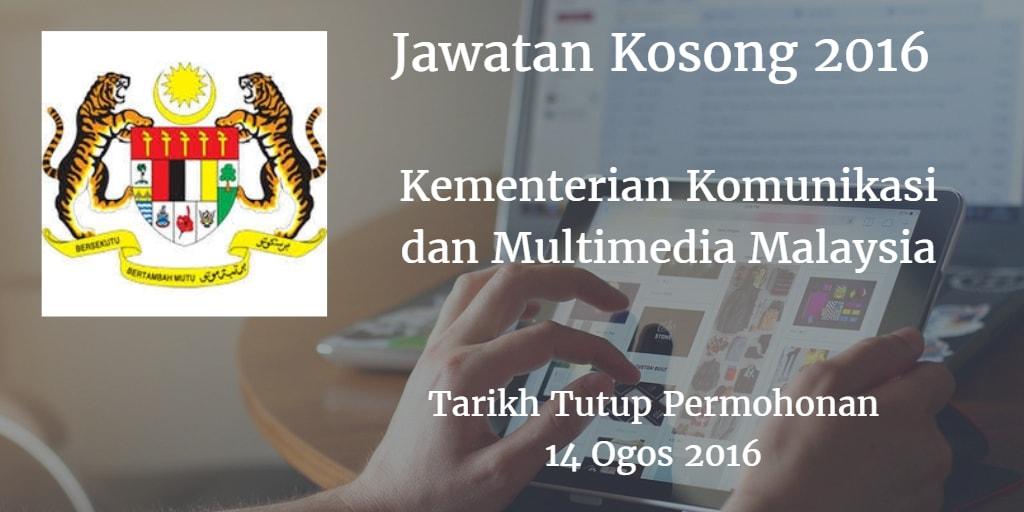 Jawatan Kosong Kementerian Komunikasi dan Multimedia Malaysia 14 Ogos 2016