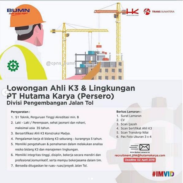 Lowongan Kerja BUMN Terbaru PT Hutama Karya (Persero)