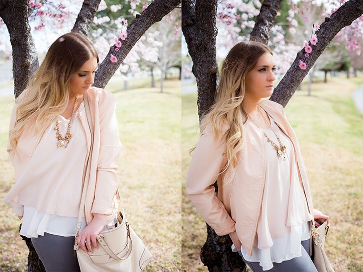 Peachy Tones leaning against tree