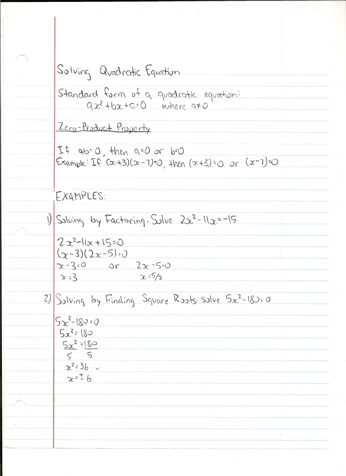 Math Notes Solving Quadratic Equation Standard Form