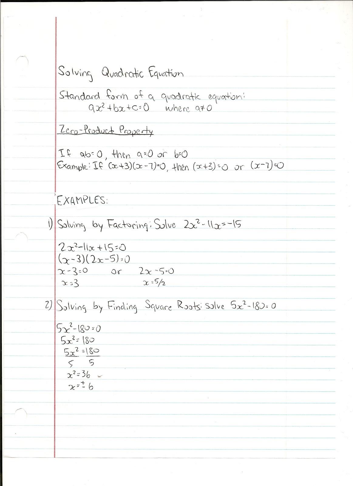 Math Notes Solving Quadratic Equation Standard Form
