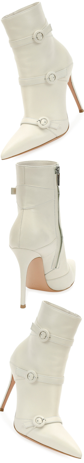 Gianvito Rossi Leather Three Buckle 105mm Bootie