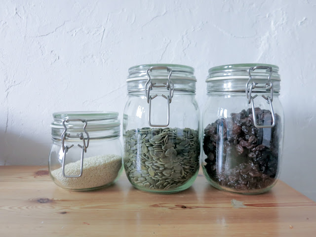 storing seeds and fruits in glass jars