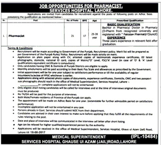 Pharmacist Jobs in Services Hospital Lahore Punjab  Aug 2017