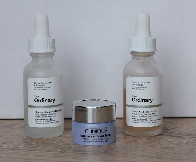 The Ordinary Niacinamide, Clinique Oogcreme, The Ordinary Lactid Acid