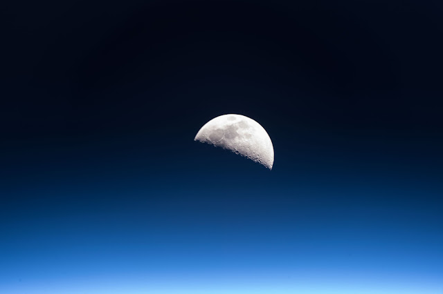 Moon and Earth's Atmosphere seen from the International Space Station