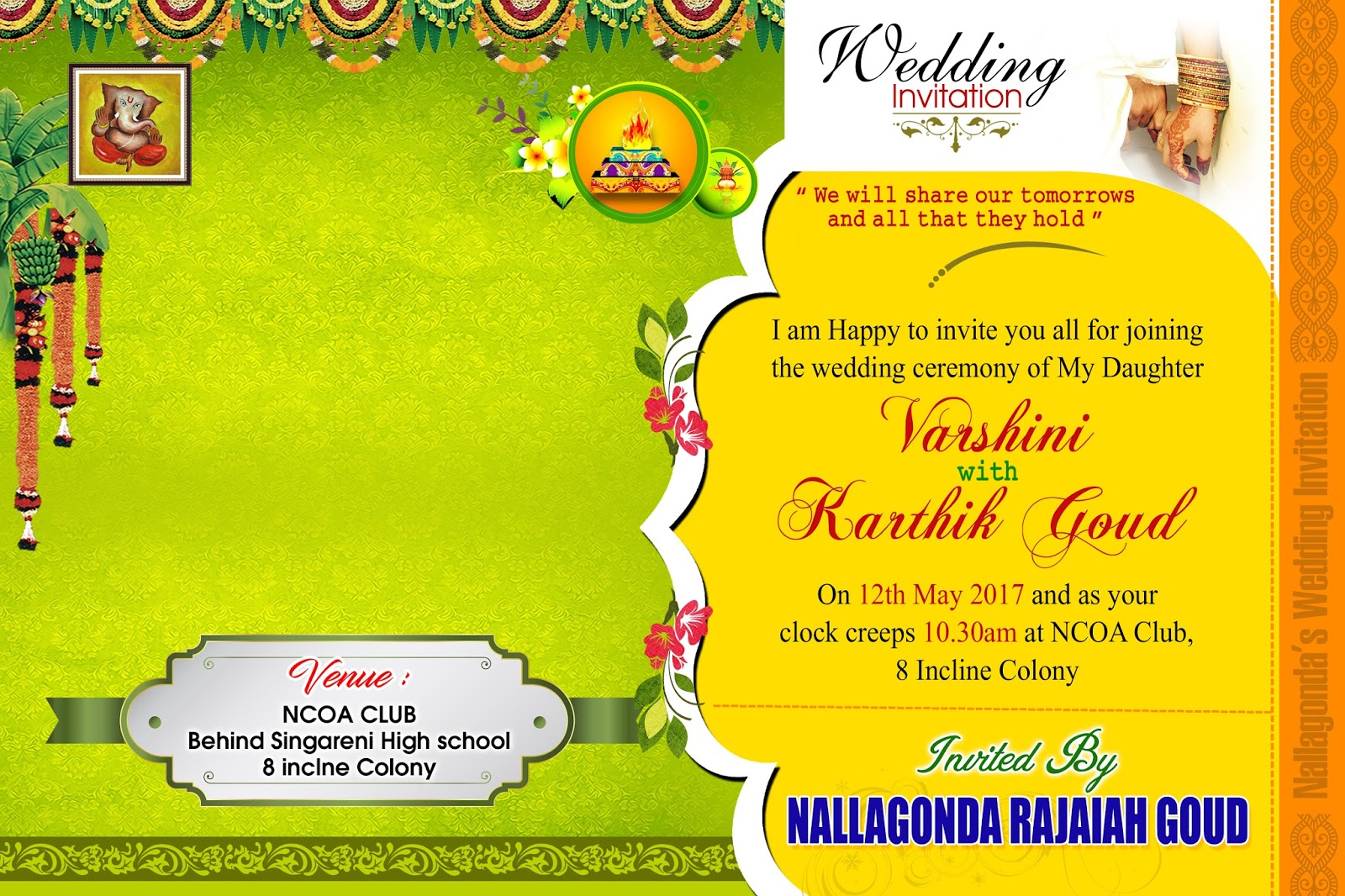 wedding invitation card psd vector template free