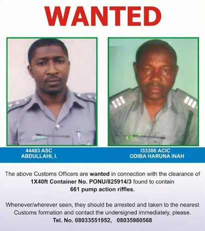 Two Officers declared Wanted by Customs over seized pump action rifles